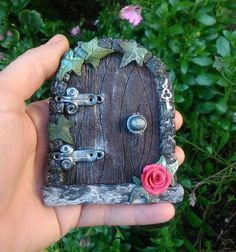 Fairy Door Wood Gothic style with red rose by TheCaterpillarQueen