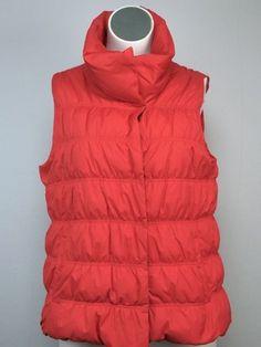 Eileen Fisher 18 2X XXL Orange Down Puffer Weather Resistant High Collar Vest #EileenFisher #vest