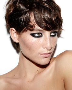 A look done with just a single black kohl pencil on the striking Heather Kemesky