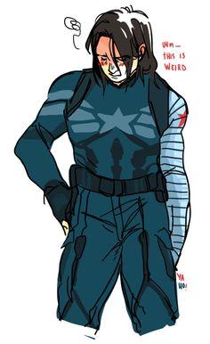 Bucky tries on Steve's uniform