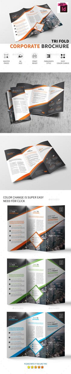 Corporate Tri-fold Brochure - Corporate Brochures Download here: https://graphicriver.net/item/corporate-trifold-brochure/19407630?ref=alena994
