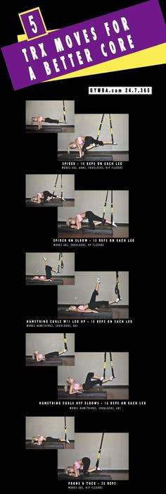 TRX Workout for abetter core. I can do all of here with the straps on my yoga swing! Yoga Fitness, Wellness Fitness, Fitness Tips, Health Fitness, Keep Fit, Stay Fit, Trx Abs, Suspension Training, Trx Suspension