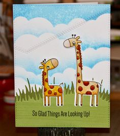 Giraffing Me Crazy, Cloud Stencil, Distressed P… Cloud Stencil, First Birthday Cards, Mft Stamps, Get Well Cards, Animal Cards, Card Making Inspiration, My Crazy, Lawn Fawn, Kids Cards