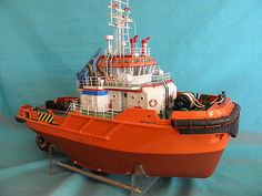 1/48 scale professional modern tugboat model, stunning ship model Scale Model Ships, Scale Models, Rc Model, Model Art, Make A Boat, Train Truck, Chris Craft, Tug Boats, Model Building