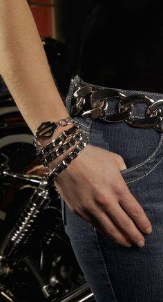 HDWCU10124 - Harley-Davidson® Womens Cruisin Metal B&S Chain Wrap Wrist Cuff by LODIS Leather - Barnett Harley-Davidson®