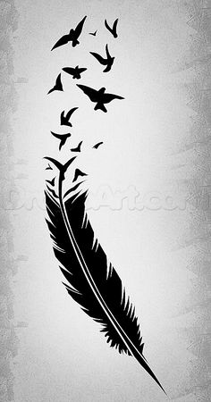 How to draw a black feather, black feather Tattoo . - How to draw a black feather, black feather Tattoo You are in the rig - Feather With Birds Tattoo, Feather Drawing, Feather Art, Eagle Feather Tattoos, Feather Sketch, Feather Stencil, Feather Tattoo Design, Black Feathers, Bird Feathers