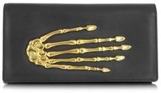 Skeleton Hand Black Nappa Leather Clutch  / ShopStyle(ショップスタイル): FORZIERI Bernard Delettrez (ベルナール デレトレズ)