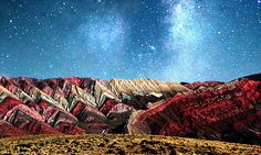 Striking Mountains at the Quebrada de Humahuaca valley, a UNESCO world heritage site. A rainbow of eleven different rock layers gives the peaks their distinctive appearance.- photographer Kevin Zaouali, Daily Mail