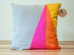 Neon Triangles Geometric Pillow CoverLInen and Silk - Kissen Diy Pillows, Linen Pillows, Cushions On Sofa, Throw Pillows, Handmade Pillows, Pillow Ideas, Scatter Cushions, Cushion Covers, Pillow Covers