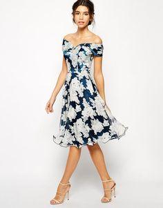 4053cd5f64ac Chi Chi London Printed Organza Midi Prom Dress with Bardot Neck
