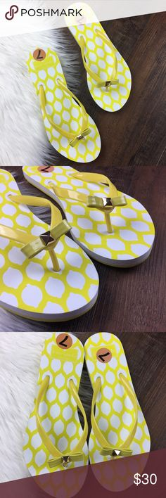 Kate Spade Nova Eva Yellow Lemon Flip Flops Kate Spade Nova EVA yellow rubber flip flops.  Bow on front, padded synthetic foot beds and textured synthetic outsoles.  NWOT. kate spade Shoes Sandals