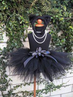 Midnight - Black Cat Tutu Costume Set - Sewn 11'' pixie tutu, black kitty ears headband, removable tail - girls sizes 6 to 8 on Etsy, Sold