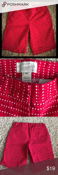 J. Crew Bermuda shorts Cute red with white polka dots J. Crew Bermuda shorts. Size 00 J. Crew Shorts Bermudas