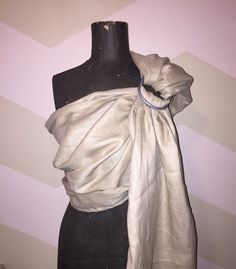 100% linen single layer sand colour ring sling With large silver rings  https://www.etsy.com/shop/AnnaBananaRingSlings #newbornbaby  #babyshowergift  #babywearing
