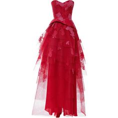 Clothing Silk Lace Embroidered Strapless Gown with Tiered Skirt ($2,248) ❤ liked on Polyvore featuring dresses, gowns, long dresses, floral evening gown, lace evening dress, red gown, long lace dress and red ball gown