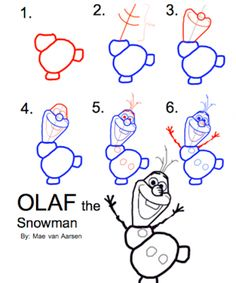 How To Draw Olaf The Snowman, FROZEN, Disney Drawing. I use guides like this in making decorations, as well as printing them for early arrival activities or take home favors. Olaf Drawing, Drawing For Kids, Drawing Tips, Art For Kids, Drawing Ideas, Drawing Drawing, Drawing Techniques, Doodles, Disney Frozen