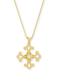 P6654 Eli Jewels Aegean Diamond Cross Pendant Necklace