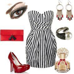 Stripes & Red, created by #abstephens06 on #polyvore. #fashion #style Forever Unique Camilla Skovgaard