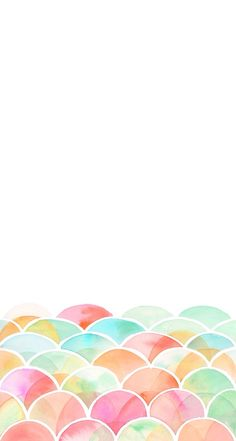 Minimal white pink mint watercolour deco scallop iphone phone wallpaper background lock screen