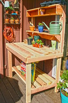 "Garden potting bench - locally handcrafted out of redwood starting at $220 for a 4'w x 22""D x 4' H"