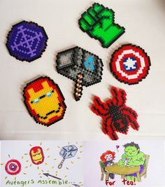 A set of coasters made with hama beads, so the Avengers can assemble for a nice cup of tea! Backed with self adhesive cork. Fancy yourself a handmade item from Noodle Jewellery? Well I'm KleeNoodle...