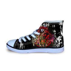 Guns N Roses Pattern Printed Shoes for Women Men Casual Shoes Breathable Fashion High Top Canvas Shoes Vulcanization Shoe - Superhero Universe