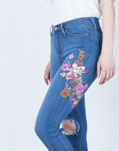 Floral Embroidered Jeans - Blue Denim Jeans - Embroidered Skinny Jeans – 2020AVE