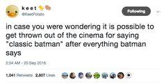 """What sort of antiquated rich guy bullshit is it where Batman still makes Alfred call him MASTER Wayne?"""