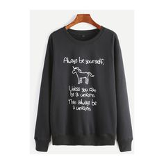 SheIn(sheinside) Black Unicorn And Slogan Print Sweatshirt ($20) ❤ liked on Polyvore featuring tops, hoodies, sweatshirts, black, unicorn sweatshirt, sweater pullover, print top, long sleeve tops and long sleeve pullover