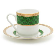 Mrs Moore's Vintage Store Harley Coffee Cup & Saucer - Green ($66) ❤ liked on Polyvore featuring home, kitchen & dining, drinkware, green, espresso cups and saucers, coffee cup saucer, espresso coffee cups and saucers and coffee cup and saucer