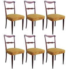 Set of Six Italian Dining Chairs | From a unique collection of antique and modern dining room chairs at https://www.1stdibs.com/furniture/seating/dining-room-chairs/