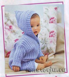 детское голубое пальто с косами