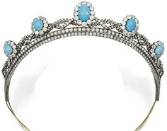 Turquoise and diamond tiara, circa 1880's. This tiara is made in an interwoven foliate and ribbon design and is set with circular-cut and rose diamonds, adorned at intervals with five clusters of cabochon turquoise within borders of cushion-shaped and circular-cut diamonds. Via Diamonds in the Library.
