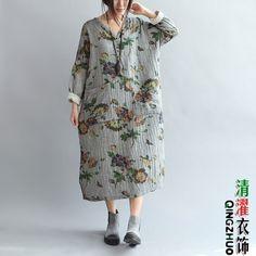 Q52 Casual Maxi Plus Size Pastoral Flower Double 100% Cotton Women's Long Dress | eBay