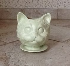 Large Cat head ceramic planter on saucer by SueSueSueCrafts, $24.00  Cat lover?