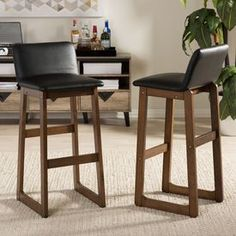 """Baxton Studio Loft Modern and Contemporary Black Faux Leather and """"""""Walnut"""""""" Brown Finishing Wood 29-Inch High Bar Stool"""