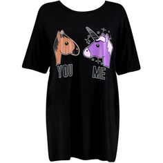 Boohoo Laila Oversized Unicorn Slogan Night Dress ($16) ❤ liked on Polyvore featuring intimates, sleepwear and nightgowns