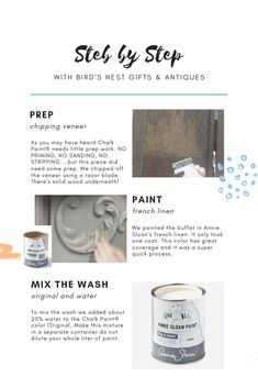 Step by Step Color Wash Technique – Bird's Nest Gifts & Antiques Annie Sloan Chalk Paint Furniture, Chalk Paint Finishes, Distressing Chalk Paint, Chalk Paint Colors, Annie Sloan Paints, White Chalk Paint, Diy Chalk Paint Recipe, Chalk Paint Tutorial, Homemade Chalk Paint