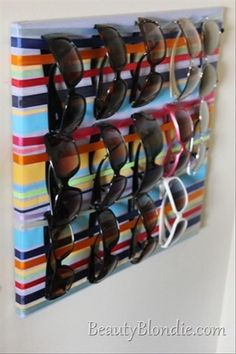ribbons wrapped around a canvas for easy DIY sunglasses storage. Jewelry Organization, Storage Organization, Storage Ideas, Storage Hacks, Diy Storage, Storage Solutions, Ribbon Storage, Cheap Storage, Closet Storage