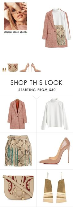 """""""ethereal, almost ghostly."""" by agnelija ❤ liked on Polyvore featuring Roberto Cavalli, Christian Louboutin, See by Chloé and CÉLINE"""