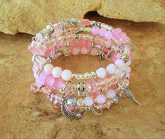 Boho Pale Pink Fairytale Bracelet, Storybook Layered Bracelet, Fairy Dust Sparkles, Original Handmade Bohemian Jewelry by Kaye Kraus by BohoStyleMe on Etsy