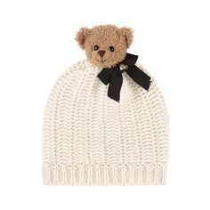 Pure wool knit Warm item Perfect to protect from the cold Teddy bear head Fancy bow Swarovski rhinestones - $ 245