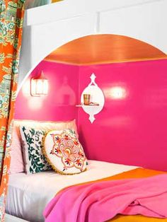Girls bedroom ideas. Love the pop of colors