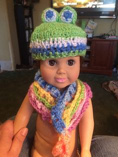 American Girl Doll Critter hat and Cowl by HandcraftedbyJenn on Etsy https://www.etsy.com/listing/210749333/american-girl-doll-critter-hat-and-cowl