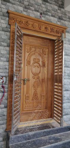 Home Door Design, Modern Home Interior Design, Window Design, House Design, Wooden Front Door Design, Wooden Front Doors, Easy Diy Room Decor, House Elevation, Woodworking Furniture