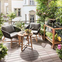 Sunfun Livorna Balkon-Loungeset (3-tlg., Beistelltisch Livorna, Gartensessel Livorna)