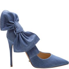 BOW TIE DENIM PUMPS 4 Inch Heel Leahter Insole Leather Outsole Upper: Denim