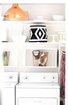 ikea hacks copper pendant light in laundry room