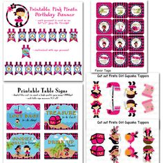 Printable DIY Pink  Pirate Girl Basic by onelovedesignsllc on Etsy, $28.00