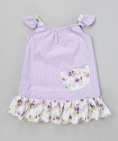 This Lavender Gingham Angel-Sleeve Dress - Infant, Toddler & Girls by Ruby and Rosie is perfect! #zulilyfinds